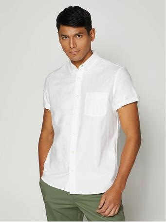 GAP - Lived-In Stretch Oxford Shirt WHITE V2 GLOBAL 2