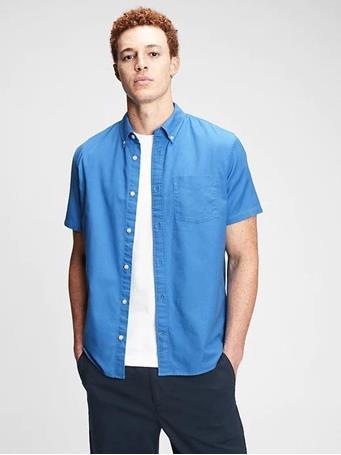 GAP - Lived-In Stretch Oxford Shirt LIGHT BLUE