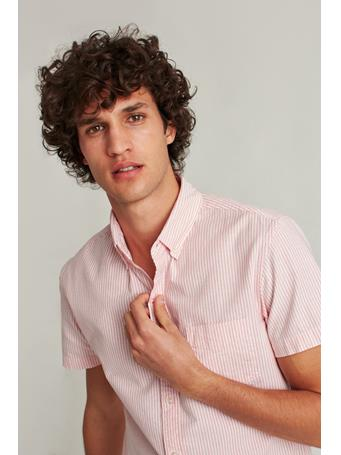 BONOBOS - Stretch Riviera Short Sleeve Shirt(Slim Stripe - Flamingo