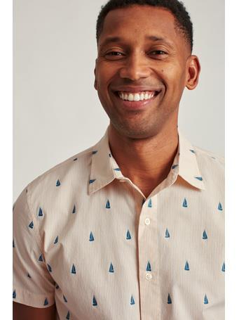 BONOBOS - Stretch Riviera Short Sleeve Shirt(Slim Sailboat Stripe C24 - Yellow B