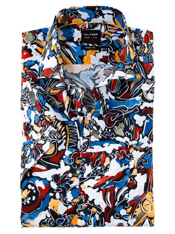 OLYMP - Body Fit Business Shirt Royal Kent CORNFLOWER PRINT