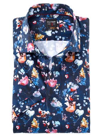 OLYMP - Body Fit Business Shirt Royal Kent NAVY PRINT