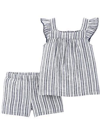 CARTER'S - 2-Piece Striped Tee & Short Set NO COLOR