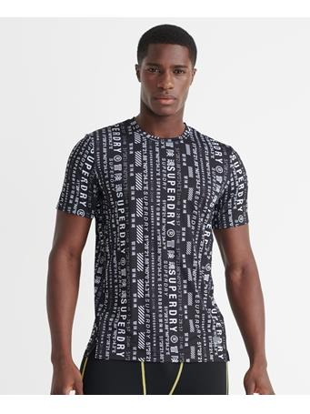SUPERDRY - Training All Over Print T-Shirt BLACK