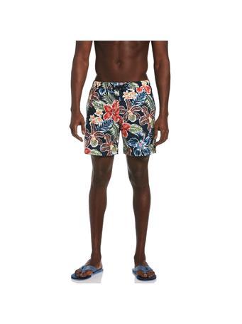 ORIGINAL PENGUIN - Floral Print Swim Shorts in Dark Sapphire DARK SAPPHIRE