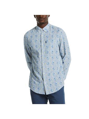 ORIGINAL PENGUIN - Linen Blend Tonal Palm Print Shirt BRIGHT WHITE