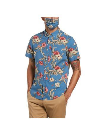 ORIGINAL PENGUIN - Floral Print Shirt & Face Mask Set COPEN BLUE