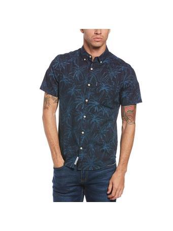 ORIGINAL PENGUIN - Palm Print Shirt DARK SAPPHIRE