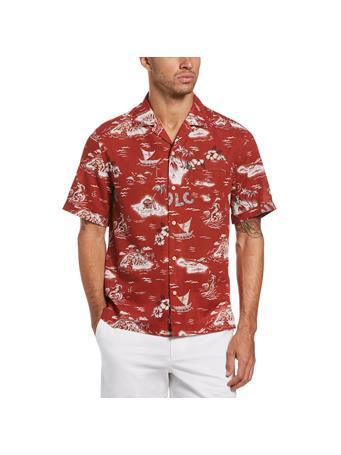 ORIGINAL PENGUIN - Hula Camp Collar Shirt RED OCHRE