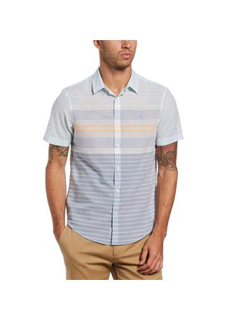 ORIGINAL PENGUIN - Lawn Engineered Stripe Shirt COPEN BLUE