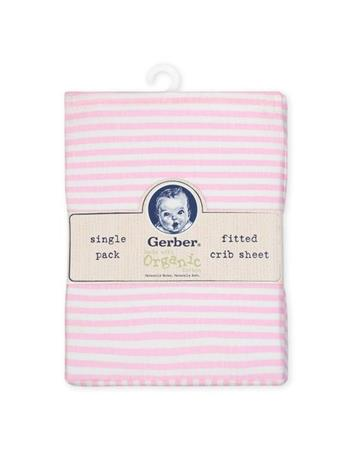 GERBER - 1-Pack Girls Pink Organic Fitted Crib Sheet PINK