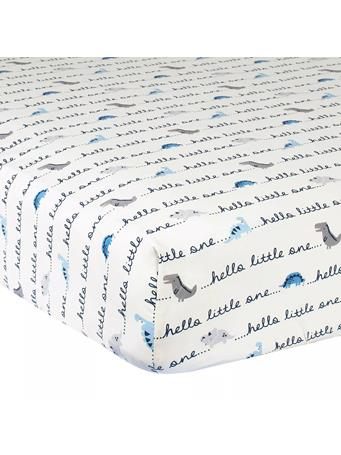 GERBER - Dinosaur Cotton Hello Little One Fitted Crib Sheet In Ivory/Blue NOVELTY