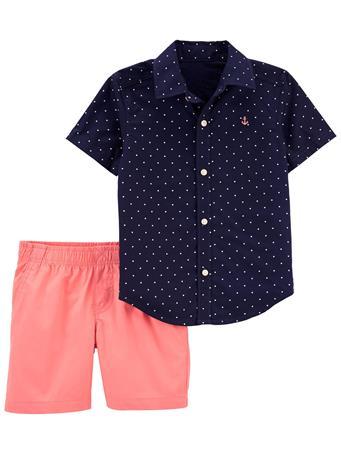 CARTER'S - 2-Piece Button-Front Shirt & Short Set NO COLOR