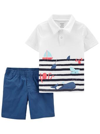 CARTER'S - 2-Piece Jersey Polo & Poplin Short Set NO COLOR
