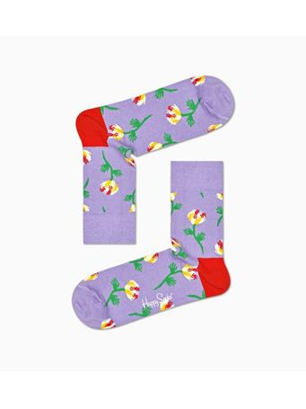 HAPPY SOCKS - Hand Flower 1/2 Crew Sock PURPLE