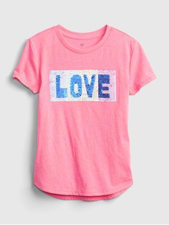 GAP - Kids Flippy Sequin Graphic T-Shirt NEON PINK ROSE