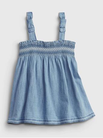 GAP - Baby Smocked Denim Dress MEDIUM WASH