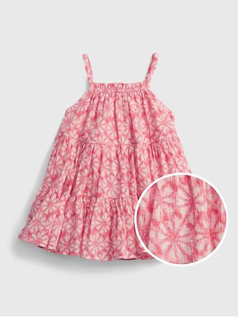 GAP - Baby Gauze Tiered Floral Dress APPLE BLOSSOM