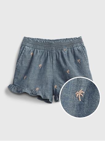 GAP - Toddler Chambray Ruffle Pull-On Shorts CHAMBRAY PRINT