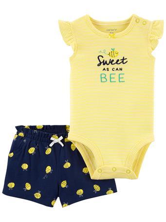 CARTER'S - 2-Piece Bee Bodysuit & Short Set NO COLOR