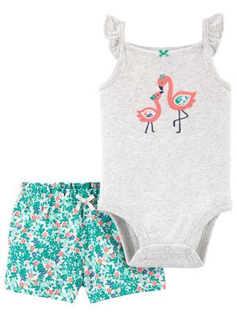 CARTER'S - 2-Piece Flamingo Bodysuit & Short Set NO COLOR