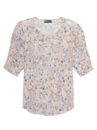 DEMOCRACY - Ruched Elbow Sleeve Scoop Neck Pebble Print Tee Shirt CAFE CREME MULTI