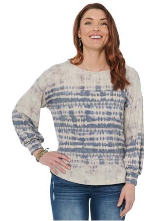 DEMOCRACY - Blouson 3/4 Sleeve Boatneck Tie Dye Jersey Knit Top NAVY/HEATHER JUTE