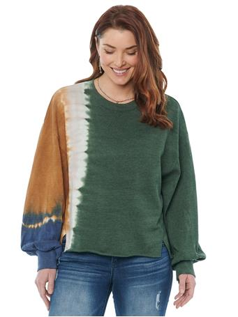 DEMOCRACY - Long Puff Sleeve Scoop Neck Tie Dye Sweatshirt CYPRESS GREEN/MULTI