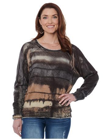 CALVIN KLEIN - Double Layer Tie Dye Sweater KHAKI/BLACK