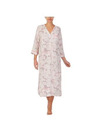 DONNA KARAN - Tonal Eclipse 48IN Sleep Shirt WHITE FLORAL