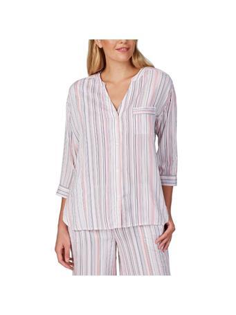 DONNA KARAN - Tonal Eclipse Pajama Top WHITE STRIPE