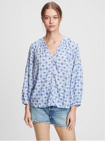GAP - Easy Popover Shirt BLUE TILE PRINT