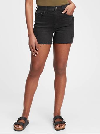 GAP - 4 inch High Rise Denim Shorts WASHED BLACK
