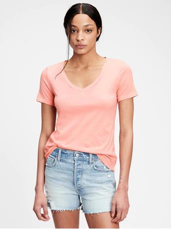 GAP - 100% Organic Cotton Vintage V-Neck T-Shirt CREAMY CORAL