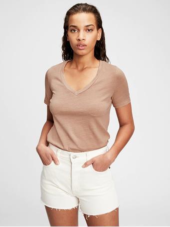 GAP - 100% Organic Cotton Vintage V-Neck T-Shirt SUN KISSED CLAY