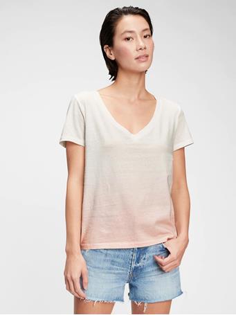 GAP - 100% Organic Cotton Vintage Tie-Dye V-Neck T-Shirt PINK TIE DYE