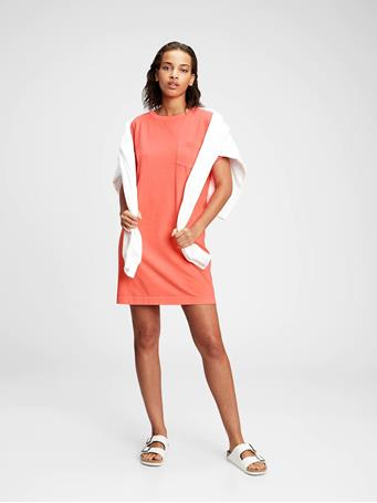 GAP - Pocket T-Shirt Dress NEON CORAL