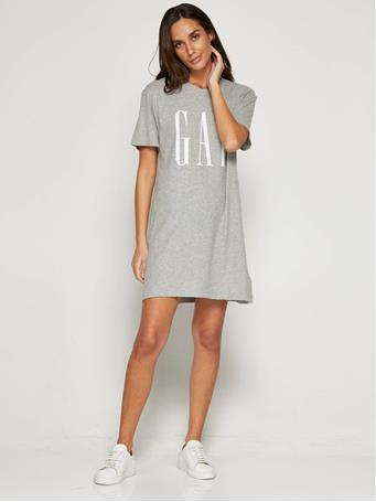 GAP - Logo Short Sleeve T-Shirt Dress NEW HONEYSUCKLE