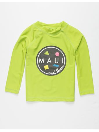 MAUI AND SONS - Long Sleeve Rash Guard Top LIME GREEN