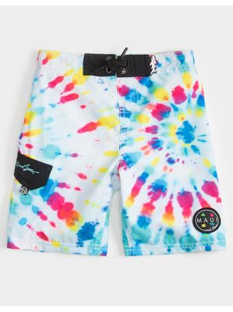 MAUI AND SONS - Multi Spiral Tie Dye Little Boys Boardshorts (4-7) MULTI