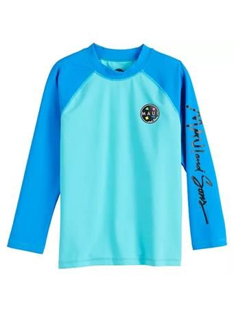 MAUI AND SONS - Long Sleeve Colorblock Rash Guard Top BLUE ASTER