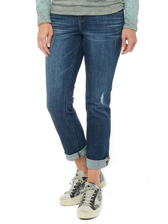 DEMOCRACY  - Ab Solution Cuffed Blue Distressed Denim Girlfriend Jeans BLUE