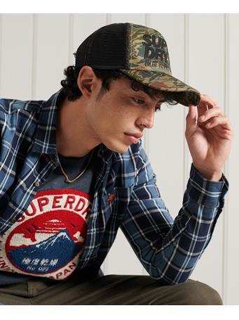 SUPERDRY - Vintage Logo Trucker Hat GREEN CAMO