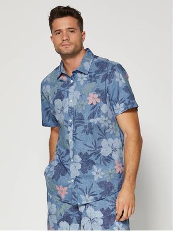 GAP - Slim Fit Shirt BLUE HAWAIIAN FLORAL