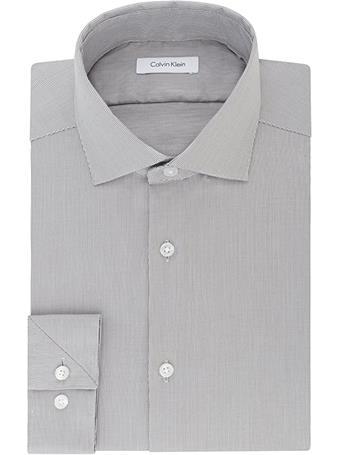 CALVIN KLEIN - Mens Non-Iron Stretch Button Up Dress Shirt 036 SMOKEY GREY