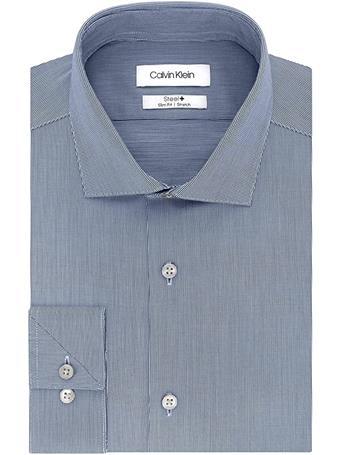 CALVIN KLEIN - Mens Non-Iron Stretch Button Up Dress Shirt SMOKE BLUE