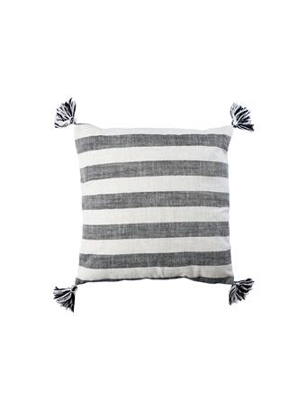 Decorative Pillow Stripe with Tassels WHITE