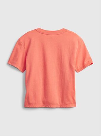 GAP - Kids 100% Organic Cotton Gap Logo T-Shirt NEON CORAL VOLT
