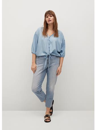 VIOLETA BY MANGO - Knotted Lyocell Blouse LT-PASTEL BLUE