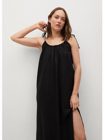 MANGO - Cut-out Linen-blend Dress BLACK